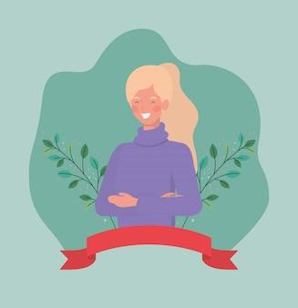 De jonge vrouw met kaderlint en doorbladert