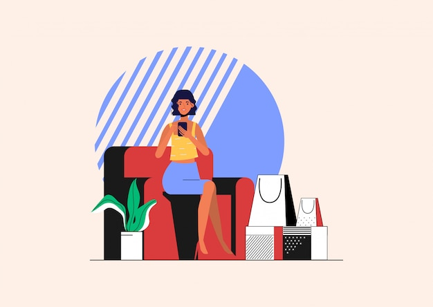 De jonge vrouw winkelt online en leveringsdoos voor de klant