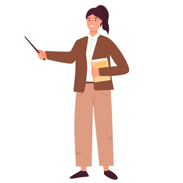 De jonge vrouwelijke leraar wijst erop. terug naar school. schattig karakter in een moderne stijl.