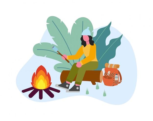 De jonge zitting van de vrouwenkampeerauto op logboek roosterende heemst over illustratie van het kampvuur de vlakke ontwerp