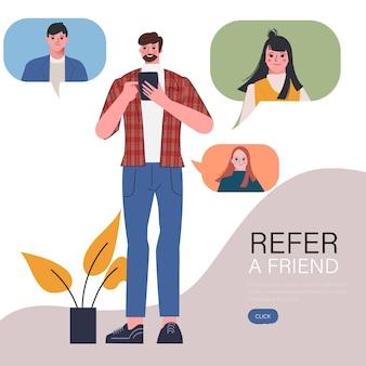 De jongeman heeft een vriend doorverwezen met een smartphone, verwijst naar het vriendenconcept