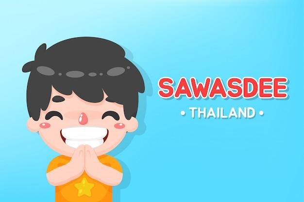 De jongen begroette in het thais het woord