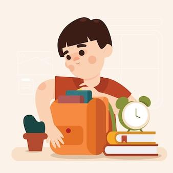 De jongen bereidt boeken voor schoolillustratie voor