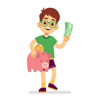 De jongen bespaart geld met spaarvarken