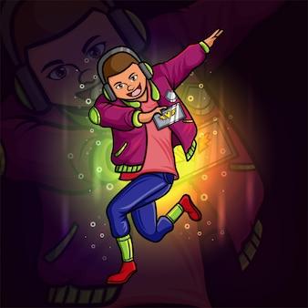De jongen danst met het muziek esport-logo-ontwerp van illustratie