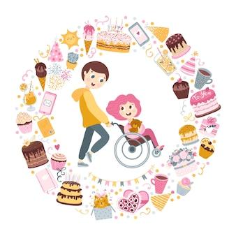 De jongen draagt het meisje in een rolstoel. vrienden, geliefden.