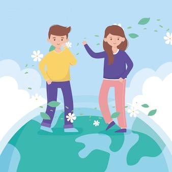 De jongen en het meisje die zich op het gebladerte van wereldbloemen bevinden beschermen aard en ecologie