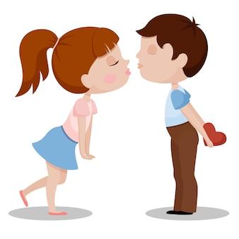 De jongen en het meisje gaan geïsoleerd op witte achtergrond kussen. valentijnsdag concept. flat vector illustratie.