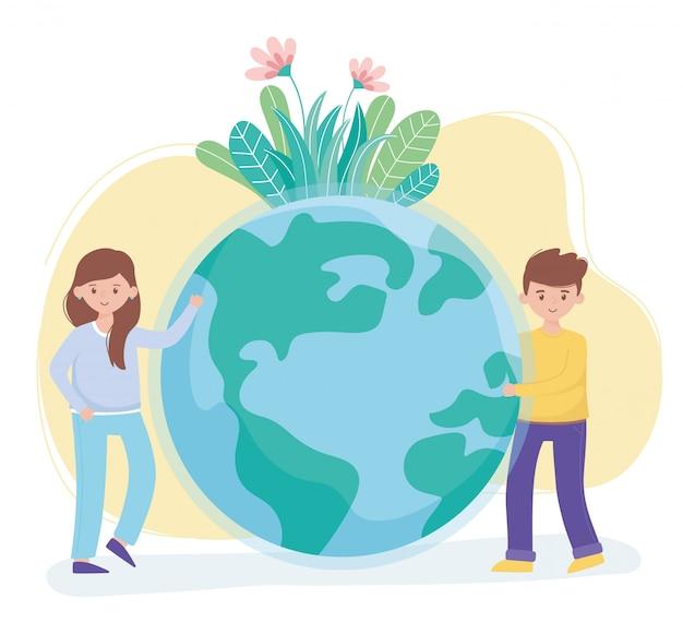 De jongen en het meisje met het gebladerte van wereldbloemen beschermen aard en ecologie