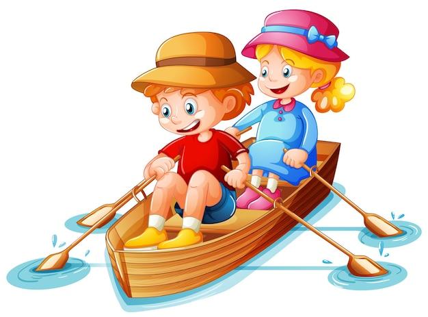 De jongen en het meisje roeien de boot op wit