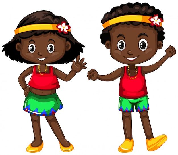 De jongen en het meisje van papoea-nieuw-guinea op wit