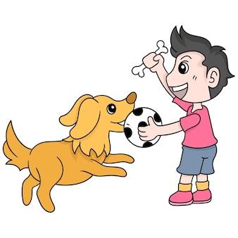 De jongen en zijn huisdierenhond spelen samen bal, vectorillustratieart. doodle pictogram afbeelding kawaii.