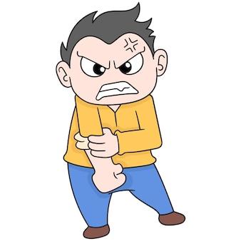 De jongen houdt woede tegen wil slaan, vectorillustratieart. doodle pictogram afbeelding kawaii.