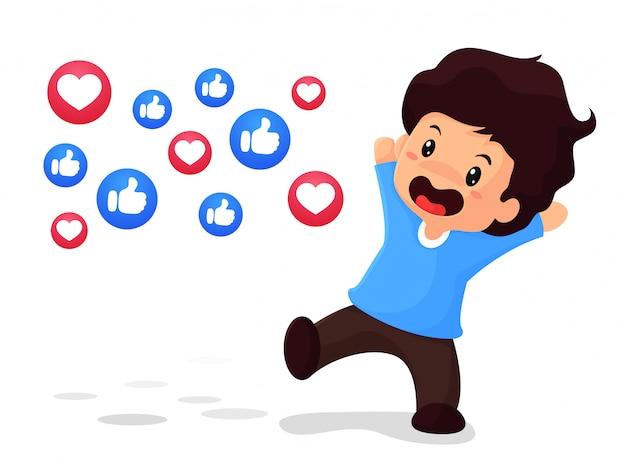 De jongen is blij dat hij populair is op sociale media. met pictogrammen voor duim en hart