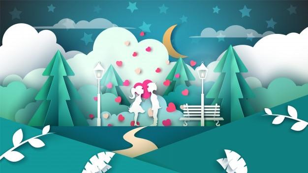 De jongen kust het meisje. valentines papier illustratie.