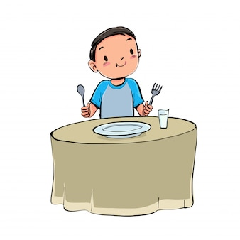 De jongen luncht.