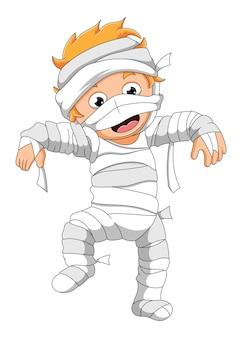 De jongen maakt de mensen bang met het mummiekostuum ter illustratie