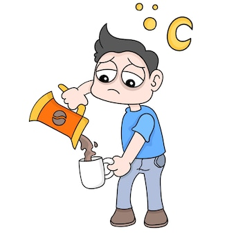 De jongen maakt 's nachts hete koffie terwijl hij slaperigheid verdraagt, vectorillustratieart. doodle pictogram afbeelding kawaii.