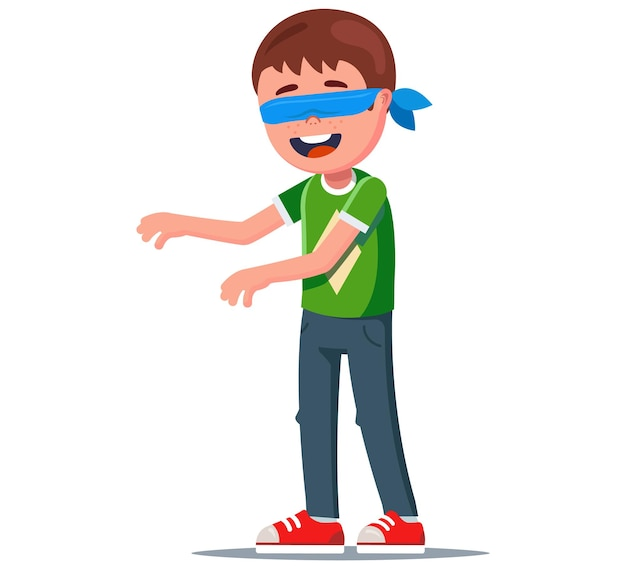 De jongen met geblinddoekte ogen strekte zijn armen uit en probeerde zijn vrienden te vinden. vectorillustratie.