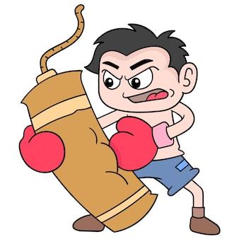 De jongen oefent boksen uit door samsak te raken, vectorillustratieart. doodle pictogram afbeelding kawaii.