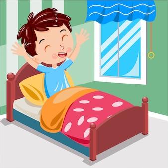 De jongen ontwaakt ochtend op de bedvector