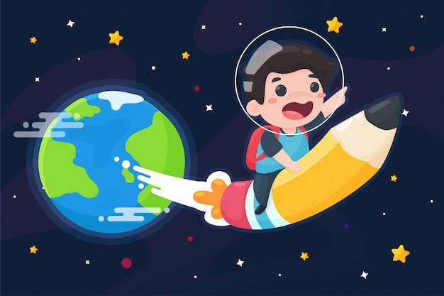De jongen reed in een houten potlood in plaats van een raket om de wereld uit te vliegen. wetenschap leren concept.