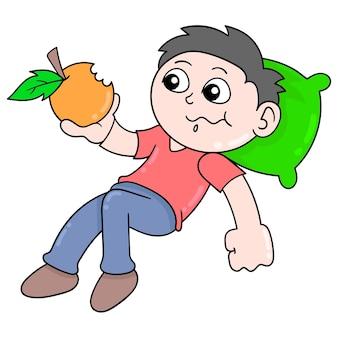 De jongen slaapt terwijl het eten van sinaasappelen, vectorillustratieart. doodle pictogram afbeelding kawaii.
