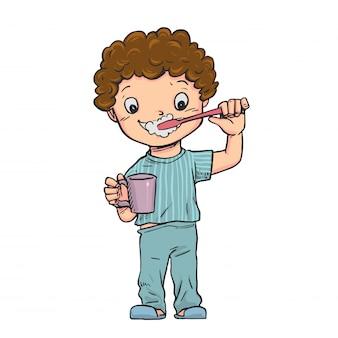 De jongen stond hun tanden te poetsen.