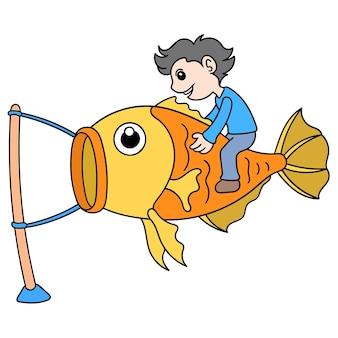 De jongen vliegt een vlieger in de vorm van een gigantische vis, vectorillustratieart. doodle pictogram afbeelding kawaii.
