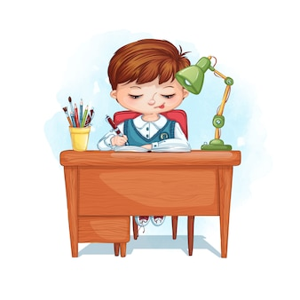 De jongen zit aan zijn bureau en schrijft huiswerk in een notitieboekje. thuis afstandsonderwijs.