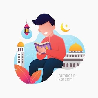 De jongen zit en leest al-koran het heilige boek van de islam