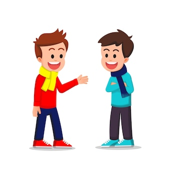 De jongens dragen winterkleren en praten samen