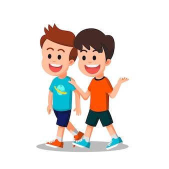 De jongens praten samen tijdens het lopen