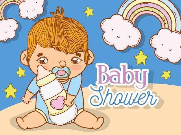 De jongensdouche van de baby met regenboog en sterren