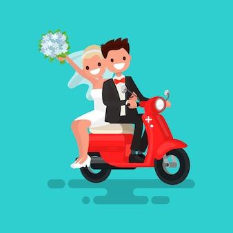 De jonggehuwden gaan op een rode bromfietsillustratie