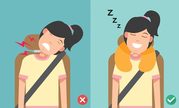 De juiste houding om rechtop te slapen.