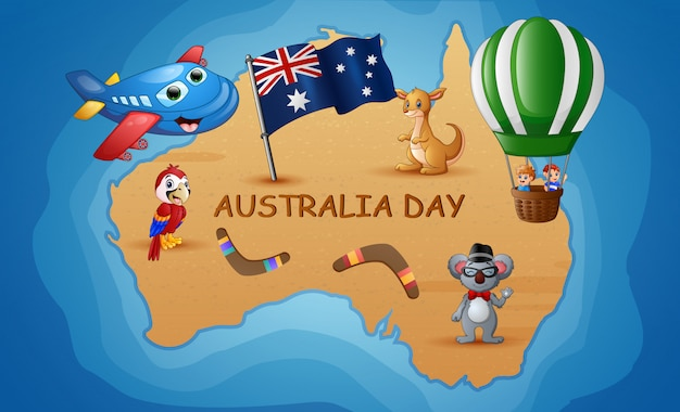 De kaart van australië op de achtergrond van de oceaan met dier en kinderen
