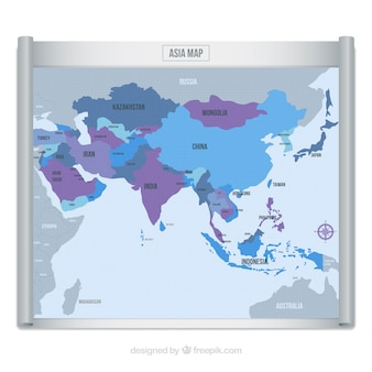 De kaart van azië in blauwe en purpere tonen