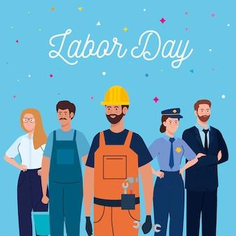 De kaart van de arbeidsdag met mensen groepeert het verschillende ontwerp van de beroeps vectorillustratie