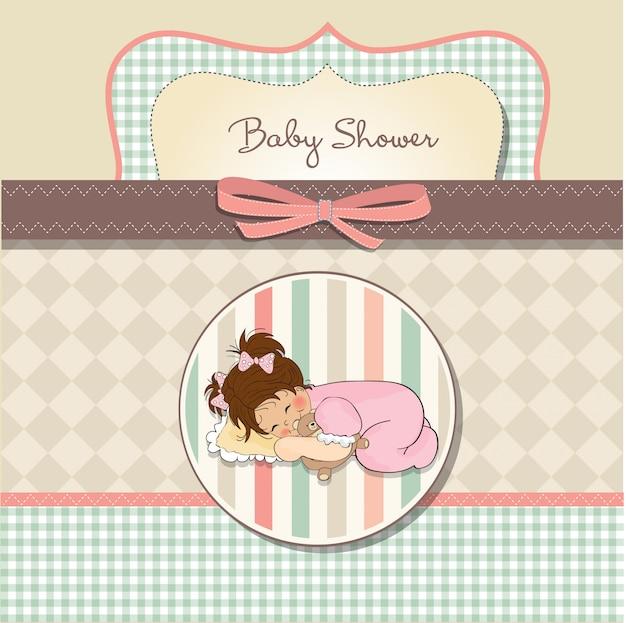 De kaart van de babydouche met het kleine spel van het babymeisje met haar teddybeerstuk speelgoed