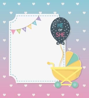 De kaart van de babydouche met kar en ballonhelium