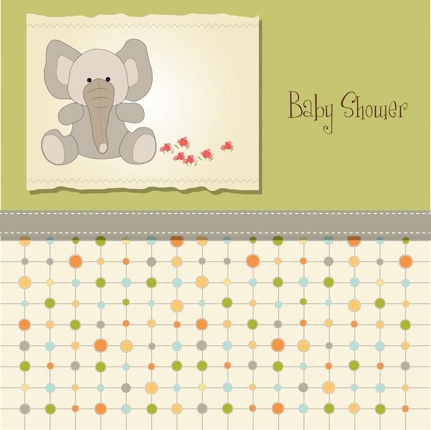 De kaart van de babydouche met olifant