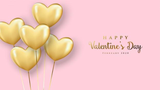 De kaart van de de daggroet van gelukkig valentine met goud gekleurde 3d liefdeballon