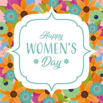 De kaart van de de daggroet van gelukkige vrouwen met bloemen