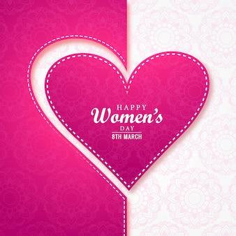 De kaart van de de daggroet van realistische vrouwen met hart