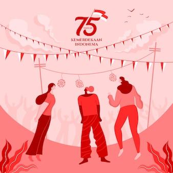 De kaart van de de onafhankelijkheidsdag van indonesië met de traditionele illustratie van het spelenconcept. 75 tahun kemerdekaan indonesië vertaalt zich naar 75 jaar onafhankelijkheidsdag in indonesië.