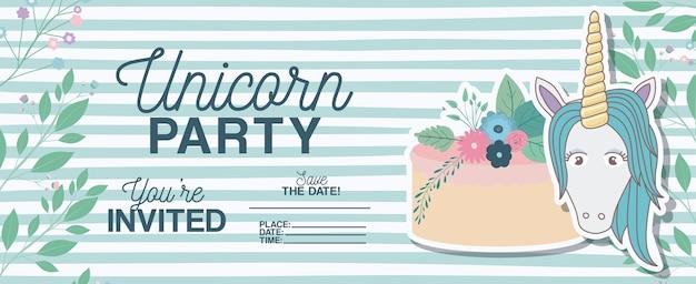 De kaart van de de partijuitnodiging van de eenhoorn met bloemendecoratie en cake