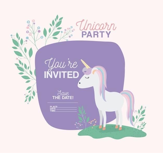 De kaart van de de partijuitnodiging van de eenhoorn met bloemendecoratie