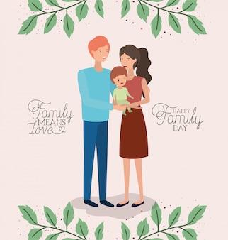De kaart van de familiedag met ouders en zoon doorbladert kroon