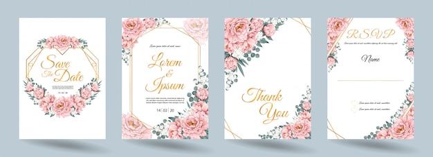 De kaart van de huwelijksuitnodiging met roze paeonia-bloemen en gouden kader